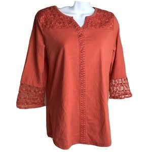 Onque casual long sleeve tunic top lace
